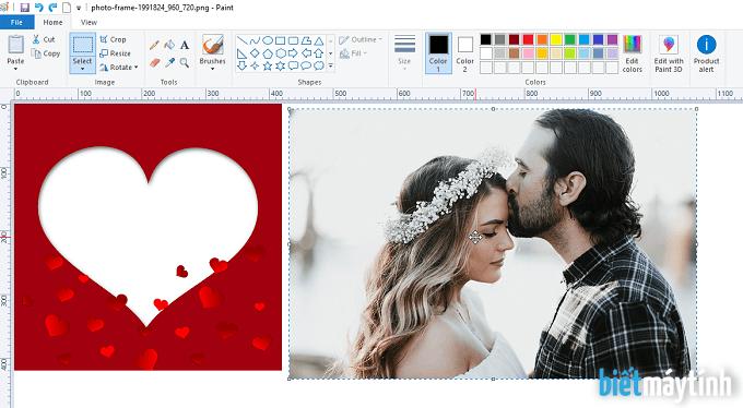 Ghép ảnh vào khung có sẵn bằng Paint