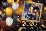 Khung ảnh năm mới 2020 với bóng bay