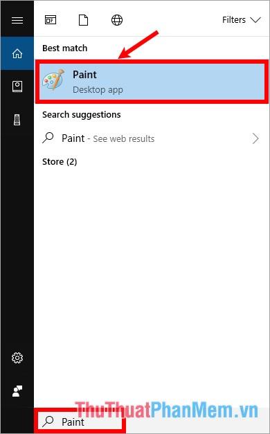 Nhập từ khóa Paint trong phần tìm kiếm search box