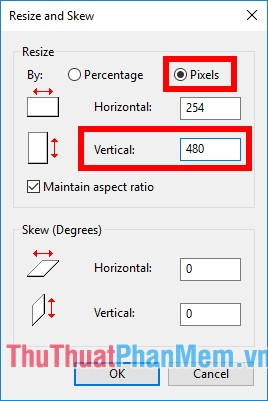 Xuất hiện hộp thoại Resize and Skew, chọn Pixels sau đó nhập kích thước