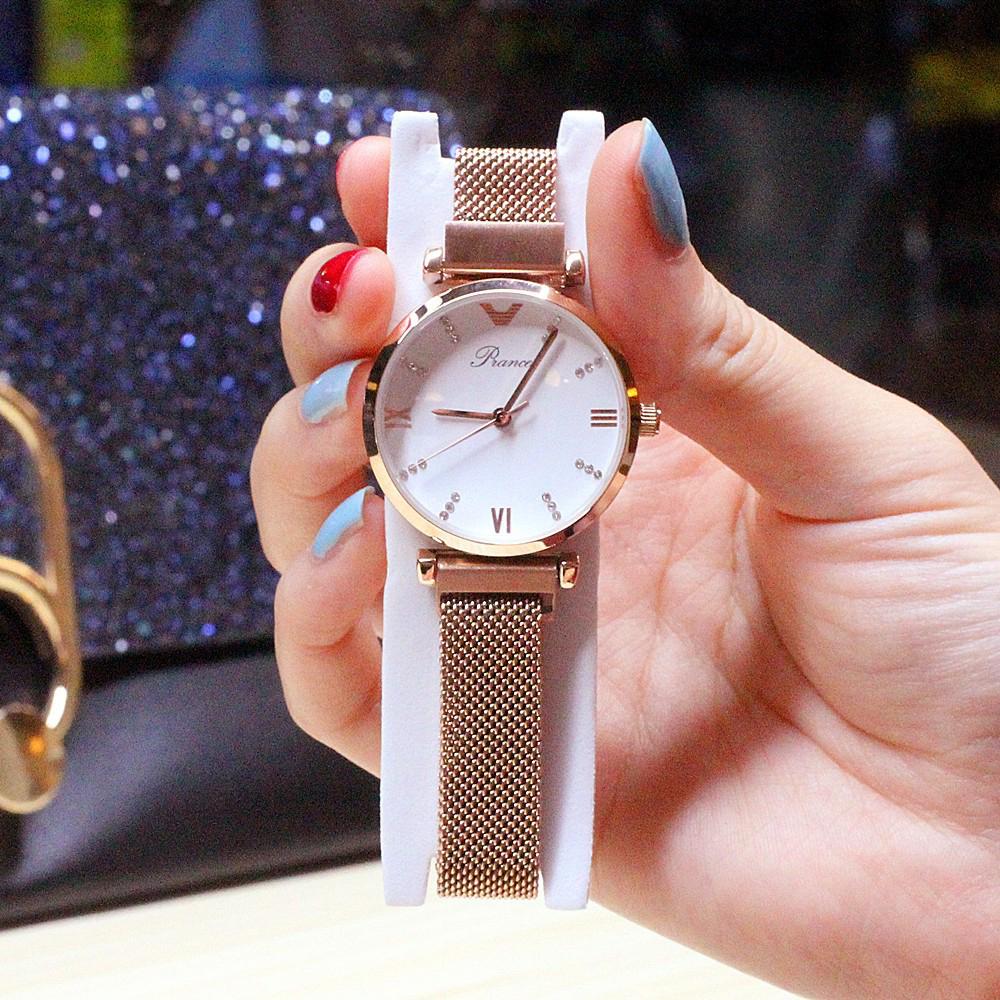 Đồng hồ nữ dây kim loại lưới khóa nam châm mặt tròn trắng sang trọng Prance  ĐHĐ15001