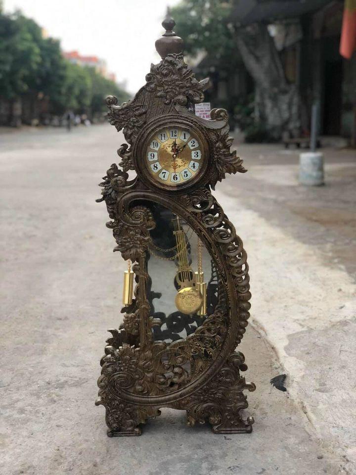 Đồng hồ để bàn Hoa Mẫu Đơn gỗ Mun đuôi công hàng cực độc, siêu đẹp   Tiki